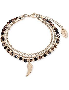s.Oliver Damen-Armband Flügel IP Rose Edelstahl Glas mehrfarbig 20 cm-2012537
