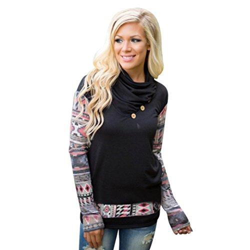 Ouneed® Sweatshirts ,Damen Langarm Pullover T-Shirt Taste Print Tops Blusen (S, Schwarz) Sherpa-taste