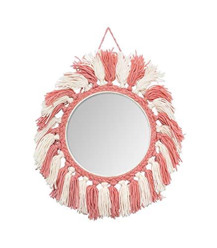 Atmosphera - Espejo de Pared Redondo con Flecos, diámetro 23 cm, Bohemio, Rose/Écru, cm