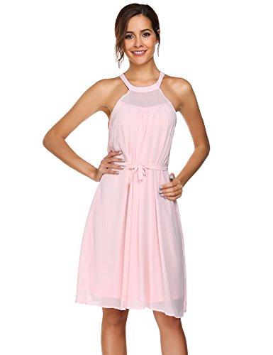 0472349e60b2 ACEVOG Damen Sommer Elegante Ärmellose Kleider Neckholder Knielang  Chiffonkleid Abendkleider Partykleider mit abnehmbarem Gürtel Rosa