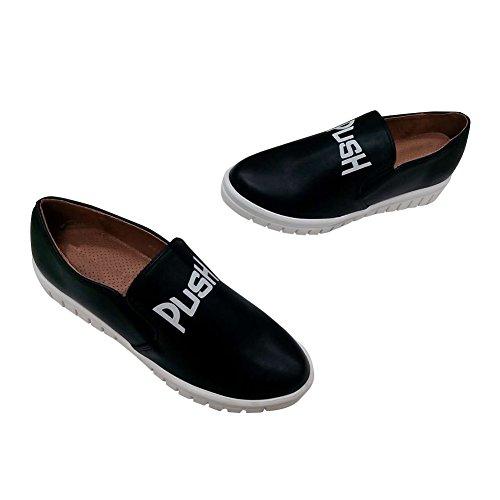 Hengfeng Femmes en cuir Flatform Mode confortable confortable Casual Sneakers Chaussures 6075-70 Noir