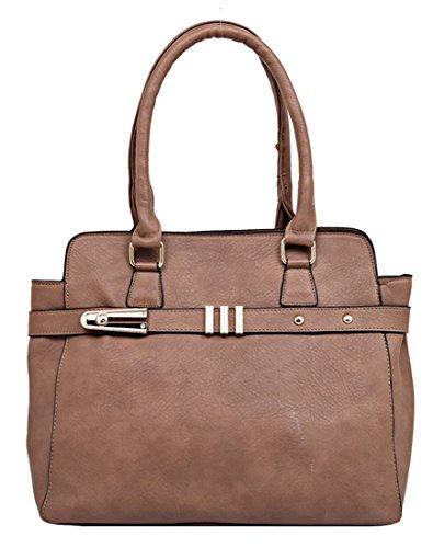 Kukubird Ecopelle Cinturino Orizzontale Tote Shoulder Bag Handbag Khaki