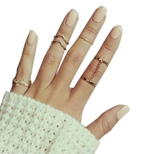 Reffles Golden Brass Small Mid Finger Rings for Women - Pack of 6- Small