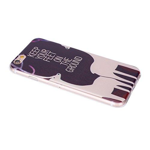 Coque iPhone 6 Plus/6S Plus, iPhone 6S Plus Coque en Silicone bord [Ultra Hybrid] Transparent Housse Etui, iPhone 6 Plus Silicone bord Coque Clair Ultra-Mince Relief Slim Plastique arrière Étui Motif  Deux cerfs