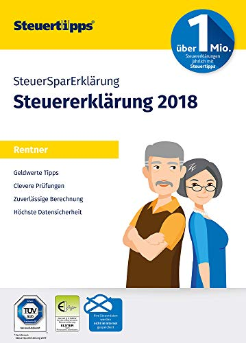 SteuerSparErklärung 2019 für Rentner   Schritt-für-Schritt Steuersoftware für die Steuererklärung 2018   Aktivierungscode per Mail für Windows 10, 8, 7