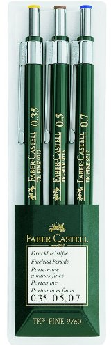 Faber-Castell 136030 - 3er Set Druckbleistifte TK-FINE 9760, Minenstärken: 0,35 mm; 0,5 mm + 0,7...