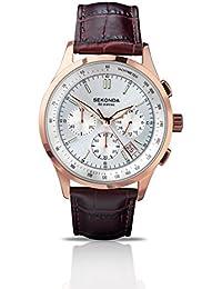 SEKONDA 3847.27 - Reloj de cuarzo para hombres, correa de acero inoxidable, color marrón