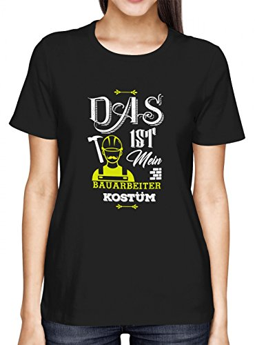 Verkleidung Bauarbeiter Premium T-Shirt   Kostüm   Karneval   Fasching   Frauen   Shirt, Farbe:Schwarz (Deep Black L191);Größe:S