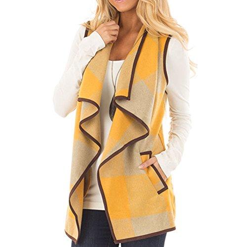 Frauen Plaid Weste, Frühling Herbst Revers offene Front Weste ärmellose Jacke Strickjacke mit Taschen Lady Casual Wollmischung Mantel Outwear (Gefütterter Wolle-mischung)