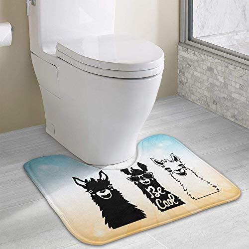 Hoklcvd Cute Llama U-förmige Toilette Boden Teppich Rutschfeste Toilette Teppiche Badezimmer Teppich - Nourison Nourison Teppich Grau