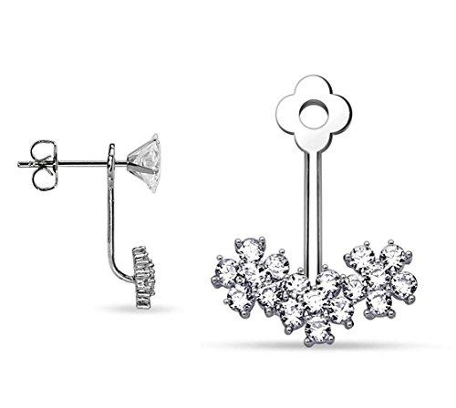 BlingKing - 1 Ohrstecker Ear Jacket Blumen - Silber Ear Cuff / Schaukel-Ohrring / Pendel-Ohrring - Stecker + Anhänger