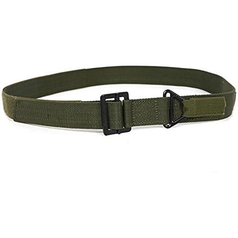 QHGstore Correas de los hombres al aire libre tácticos militares de la correa de rescate Cinturones Rappel hebilla de la aleación de lona ejercito verde