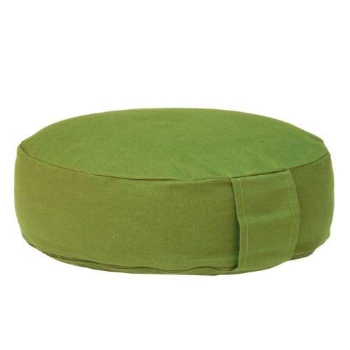 Meditationskissen RONDO BASIC extra-flach mit abnehmbarem Bezug, Dinkel-Füllung , bequemes Sitzkissen, Yogakissen, niedrig, Ø 34cm (olive/grün)