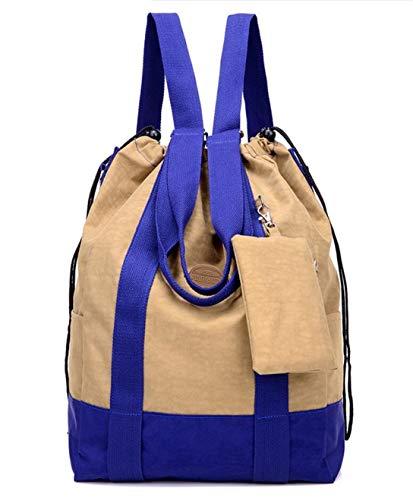 Damen Große Nylon Reisetasche Sport Gym Bag Mehrzweck Kordelzug Rucksack mit extra Kleiner Tasche, Khaki (Braun) - 9-2-2