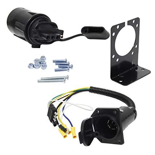Wisamic 4 Draht flach zu 7 Draht RV Anhänger Licht Stecker Kabelbaum Konverter Adapter mit flachen Buchse Adapter Stecker und Halterung (Anhänger-konverter-kit)