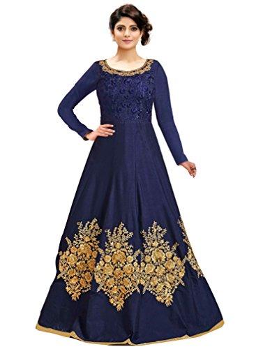 Siddeshwary Fab Women's Taffeta Silk Anarkali Gown (Navy Blue_ Free Size_Semi Stitched)