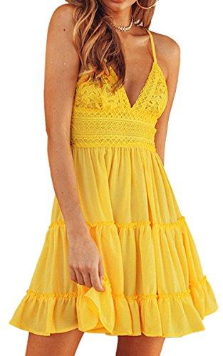 ECOWISH V Ausschnitt Kleid Damen Spitzenkleid Träger Rückenfreies Kleider Sommerkleider Strandkleider Gelb L - Damen Kleider Gelb