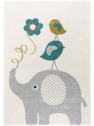 benuta Kinderteppich Birdies and Elephant Blau 80x150 cm | Teppich für Spiel- und Kinderzimmer - Elefanten-rechteckiger Teppich