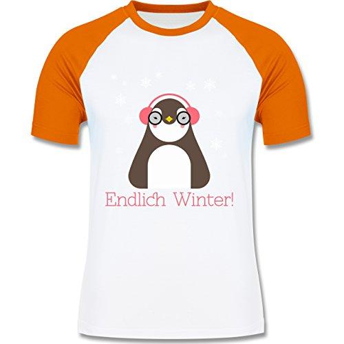 Wintersport - Endlich Winter Pinguin kalt - zweifarbiges Baseballshirt für Männer Weiß/Orange
