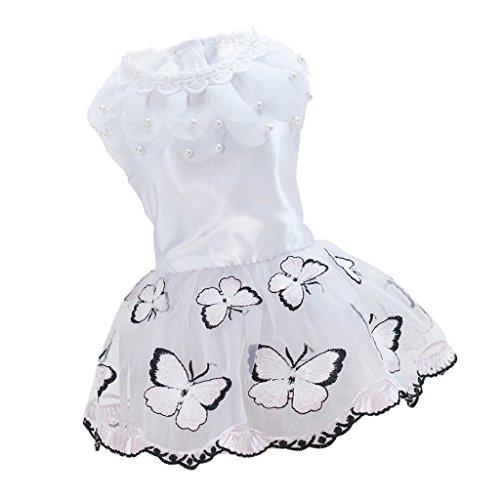 Baoblaze Schmetterling Muster Hund Prinzessin Kleid Hochzeit Party Hunde Kleidung Bekleidung - Rosa...