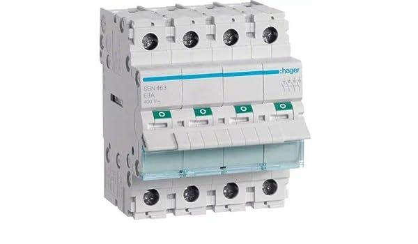 Interrupteur modulaire coupe sb 4 p/ôles 63a Hager sb