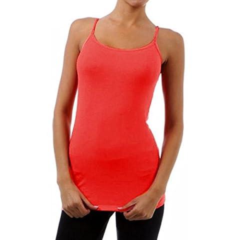 Débardeurs, Kingwo Longue Camisole Sans manches T-shirt Spaghetti Strap Tank Top (L, Rouge)