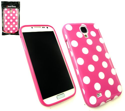 Emartbuy® Polka Dots Gel Skin Case Cover Hot Pink White For Samsung Galaxy S4  available at amazon for Rs.250