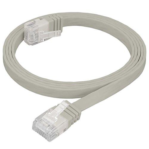 HB Digital Netzwerkkabel LAN Kabel Cabel Flachkabel Slim flach RJ45 Stecker 3m 300cm cat 6 grau beige Kupfer Profi U/UTP Halogenfrei RoHS-Compliant cat. 6 Cat6 RJ45 Port Ethernet Netzwerk Patchcable