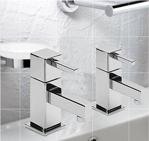 Square Style Cube Basin Pillar Taps