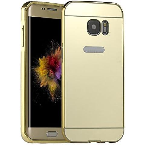 Galaxy S7 Edge Puro Funda,para Samsung Galaxy S7 Edge Funda Espejo Case,Asnlove Lusso Bling Carcasa PC Cover Mirror Case Metal Aluminio Protectora Bumper Back Shell Cubierta,Fundas Lujo Espejo Metal Caso para Samsung Galaxy S7 Edge-Oro
