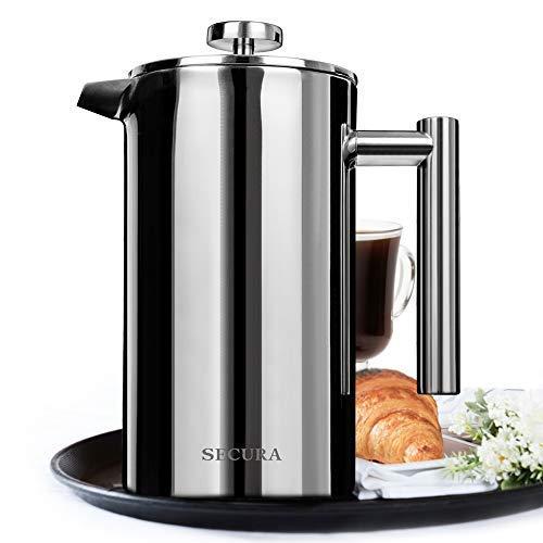 Secura Cafetière à Piston, French Press avec 2 Filtres à Café Acier Inoxydable Réutilisable,...