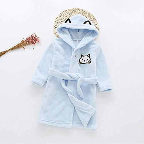 oben Kinder Baby Jungen Flanell Bademantel Kleidung Herbst/Winter Kinder Trainingsanzug Hause Gürtel Bademantel Pyjamas Kleidung 6 blau ()