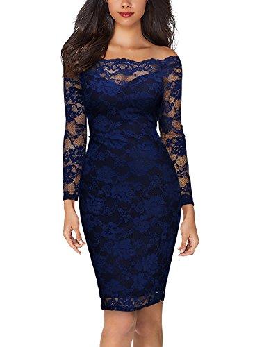 ... MIUSOL Damen Schulterfrei Spitze Cocktailkleid Etuikleid langarm  Stretch Kleid Blau Gr.L - 6 ... 0959ec8f86