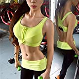 Women Push Up Zipper Bra Tops Biniki Laufshirt Tanks Shirts-Fuchsia-Yellow-Parent