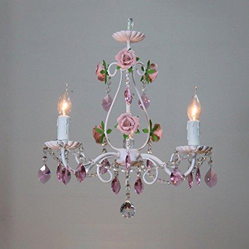 XUANLAN Moderne Mode Kristall Kronleuchter Handgemachte Keramik Rose Pendelleuchte Deckenleuchte Lampe Kerze Droplight für Schlafzimmer Esszimmer Wohnzimmer Studie Kinderzimmer E14 Innenbeleuchtung
