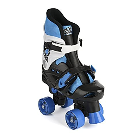 Xootz Boy's Quad Adjustable and Padded Roller Skates - Blue/Black/White, Size 13 - 3