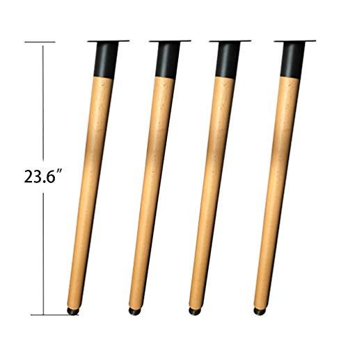 YuBao 23,6-Zoll-Holzmöbelbeine, Satz von 4 kegelförmigen Massivholzmöbeln Ersatzfüße mit Montageplatte und Schrauben für Sofa TV-Schrankbett Esstisch