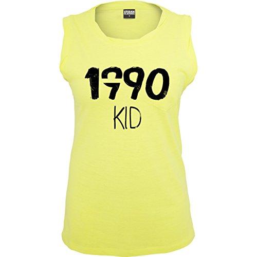 Geburtstag - 1990 KID - ärmelloses Damen T-Shirt mit Brusttasche Neon Gelb