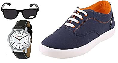 Globalite Combo Men's Casual Shoes GSC1107WS with Lotto Watch & Sunglass UK/IN-12
