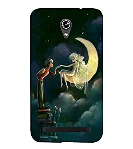 FUSON Romantic Couple Under Moon 3D Hard Polycarbonate Designer Back Case Cover for Asus Zenfone Go ZC500TG (5 Inches)