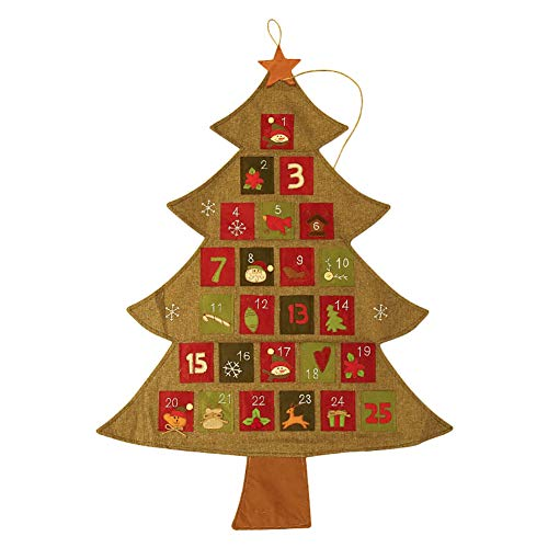 Wdoit calendario natalizio da appendere, motivo: babbo natale, 1-25 dicembre 2018, riutilizzabile, per bambini, babbo natale, pupazzo di neve, renne