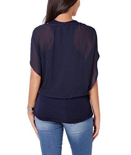 KRISP Damen Lagen Chiffon Bluse Blau (Marineblau 3559 2)