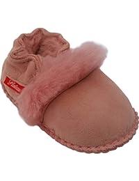 Plateau Tibet - Bottines chaussons pour bébé avec doublure en VERITABLE laine d'agneau - Fur - Rose