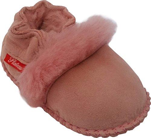 Plateau Tibet - Chaussons Chaussures bébé en cuir souple avec doublure en VERITABLE laine d'agneau bottines garçon fille enfant - Fur - Rose