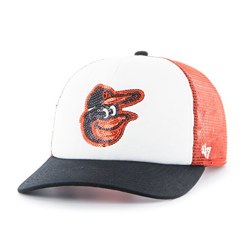 47 Brand MLB Baltimore Orioles Damen Glimmer Captain verstellbar Snapback Hat, Orange