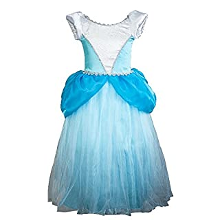 About Time Co Girl's Princess Cinder Puff Sleeves Fancy Dress (3-4 years)