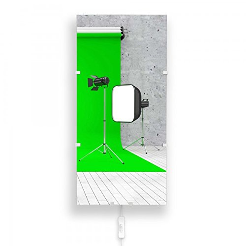 banjado - Wandlampe Wandleuchte 26cmx56cm Design Lampe LED mit Wechselscheibe und Motiv Green Screen, Wandlampe mit 2x 6W LED Leuchtmittel