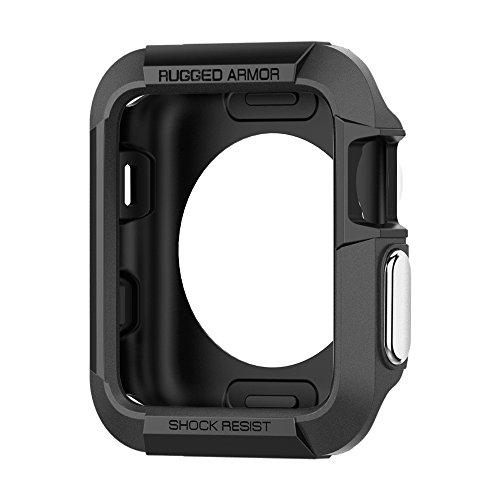 Spigen [Rugged Armor Kompatibel mit Apple Watch Series 3/2/1 42mm Hülle [Schwarz] Robustes TPU Silikon Schutzhülle Stylisch Karbon Design Case Cover (SGP11496)