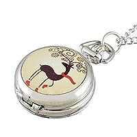 Souarts Silver Tone Color Christmas Elk Pattern Quartz Analog Pocket Watch for Children 84cm