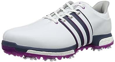 Adidas Tour 360 Boost Wd, Men Golf Shoes, White (White/Flash Pink /Mineral Blue), 10.5 UK (45 1/3 EU)